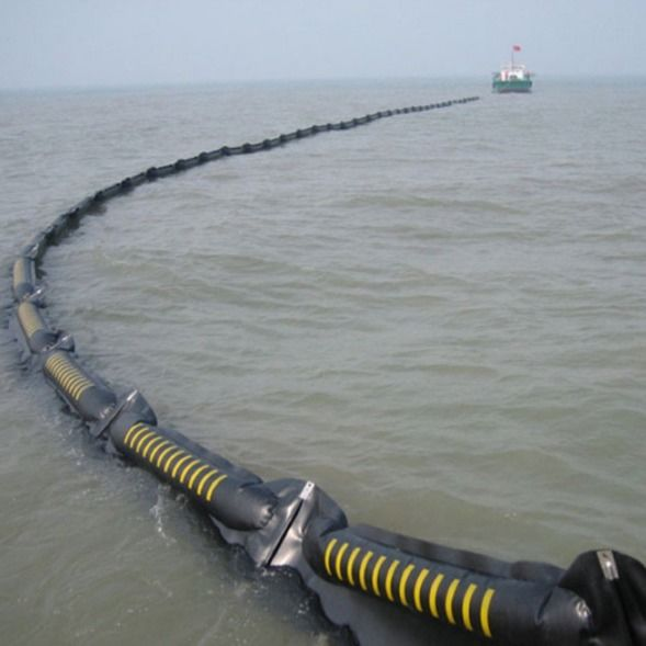 Inflatable Rubber boom Oil Spill Containment Floating Silt Curtain